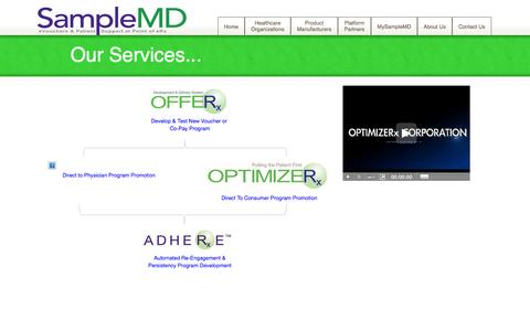 Screenshot of About Page samplemd.com - Our Services - OPTIMIZERx Corporation - captured Oct. 4, 2014