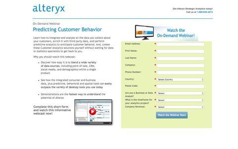 Screenshot of Landing Page alteryx.com - On-Demand Webcast: Predicting Customer Behavior - captured Feb. 15, 2016