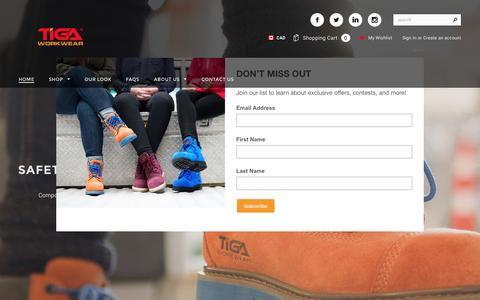 Screenshot of Home Page tigaworkwear.com - Tiga Workwear | Safety Boots for Women - captured Dec. 19, 2016