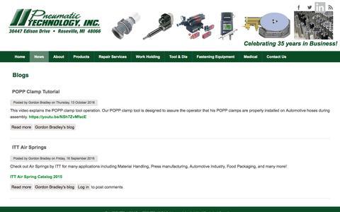 Screenshot of Press Page pneumatictechnology.com - Blogs   Pneumatic Technology (586) 776-1480 - captured May 19, 2017