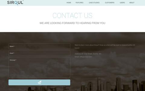 Screenshot of Contact Page sirqul.com - Sirqul, Inc. - captured Oct. 26, 2014