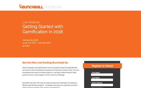 Screenshot of Landing Page bunchball.com - Getting Started with Gamification in 2018 - captured Feb. 28, 2018