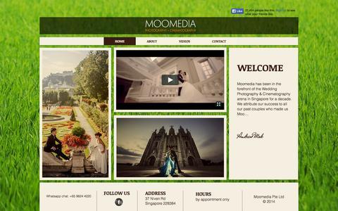 Screenshot of Home Page moomedia.com - MOOMEDIA SINGAPORE, SINGAPORE'S BEST WEDDING PHOTOGRAPHY & CINEMATOGRA - captured Sept. 30, 2014
