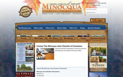 Screenshot of Contact Page minocqua.org - Contact The Minocqua-Area Chamber of Commerce - captured Oct. 7, 2014