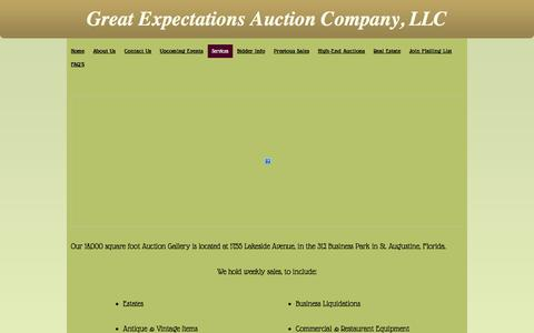 Screenshot of Services Page geauction.com - Services - Great Expectations Auction Company - captured Nov. 2, 2014