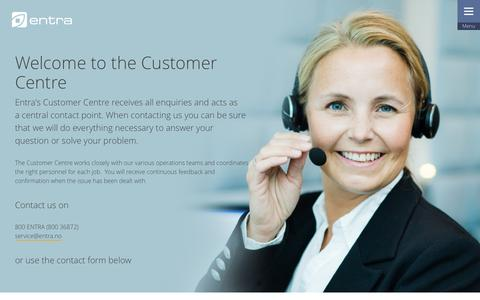 Screenshot of Contact Page Support Page entra.no - Customer centre | Entra - captured Nov. 8, 2016