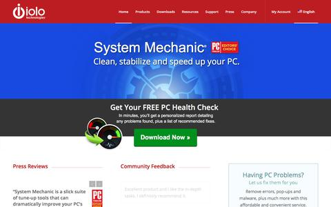 Screenshot of Home Page iolo.com - iolo technologies – Windows PC Tune-up Software Experts - captured June 20, 2017