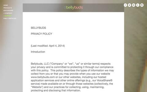 Screenshot of Privacy Page bellybuds.com - Privacy Policy — Bellybuds - captured Sept. 30, 2014