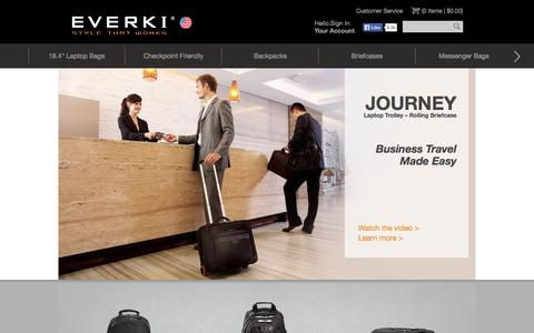 "Screenshot of Home Page everki.com - Cool Laptop Bags | 18.4"" Laptop Bags, Backpacks, Briefcases - Cool Laptop Bags 