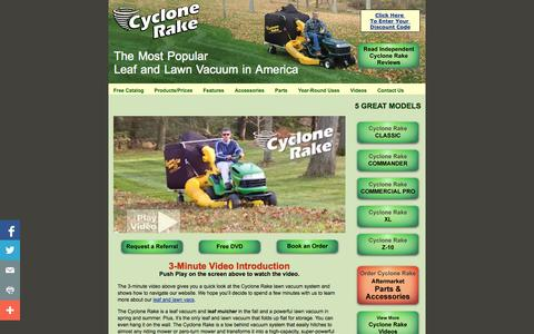 Screenshot of Home Page cyclonerake.com - Cyclone Rake Lawn Vacuum Systems - captured Oct. 6, 2014