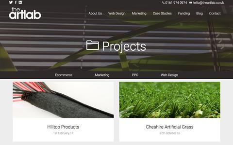 Screenshot of Case Studies Page theartlab.co.uk - Hilltop Products Magento eCommerce - captured Sept. 23, 2018