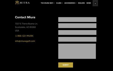Screenshot of Contact Page miuragolf.com - Contact - Miura Golf - captured June 14, 2019