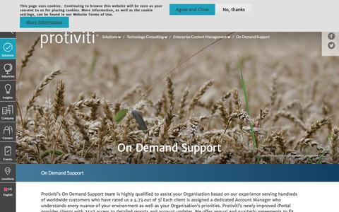 Screenshot of Support Page protiviti.com - On Demand Support | Protiviti - United Kingdom - captured Dec. 3, 2019