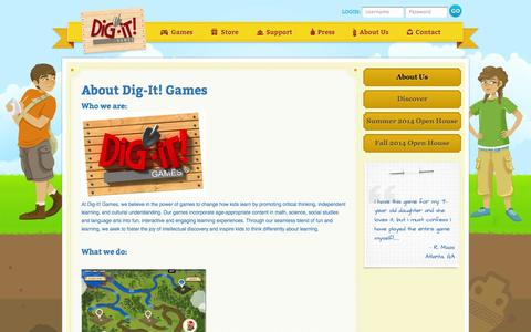 Screenshot of About Page dig-itgames.com - Dig It Games : About Us - captured Sept. 30, 2014
