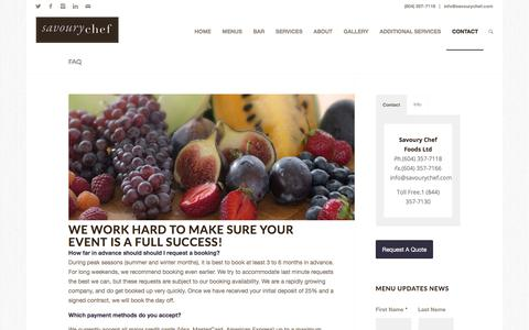 Screenshot of FAQ Page savourychef.com - FAQ | Savoury Chef Foods, Vancouver BC - captured Oct. 6, 2017