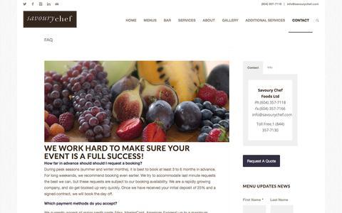 Screenshot of FAQ Page savourychef.com - FAQ | Savoury Chef Foods, Vancouver BC - captured Oct. 6, 2017