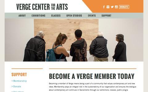 Screenshot of Support Page vergeart.com - Verge Center for the Arts - captured Nov. 29, 2016