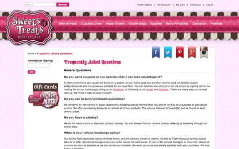 Screenshot of FAQ Page shopsweetsandtreats.com - Frequently Asked Questions - captured Sept. 19, 2014