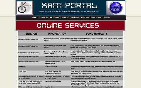 Screenshot of Services Page kamportal.co.za - Services - captured Oct. 1, 2014