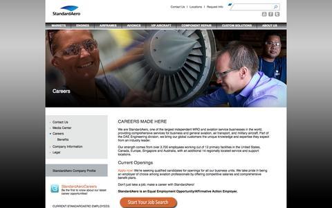 Screenshot of Jobs Page standardaero.com - StandardAero > About Us > Careers - captured Oct. 7, 2014