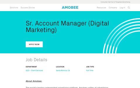 Screenshot of Jobs Page amobee.com - Sr. Account Manager (Digital Marketing) — Amobee - captured Nov. 18, 2019