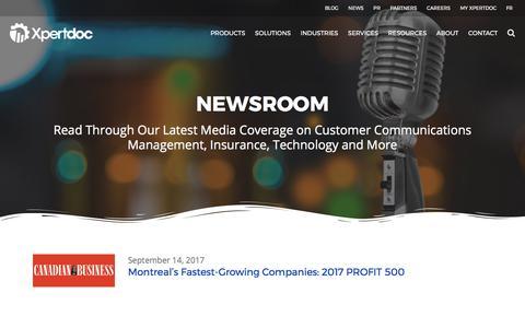 Screenshot of Press Page xpertdoc.com - News | Xpertdoc - captured Sept. 21, 2017
