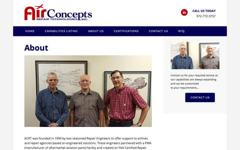 Screenshot of About Page airconceptsrepair.com - Our Aircraft & Aircraft Engine Repair History – Air Concepts - captured Oct. 3, 2018