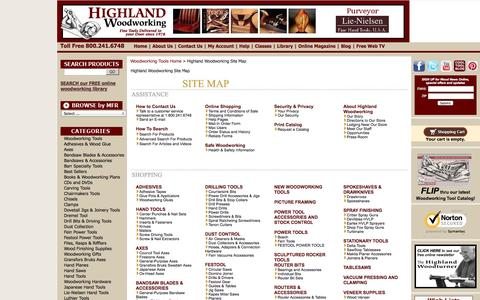 Screenshot of Site Map Page highlandwoodworking.com - Highland Woodworking Site Map - captured Sept. 19, 2014