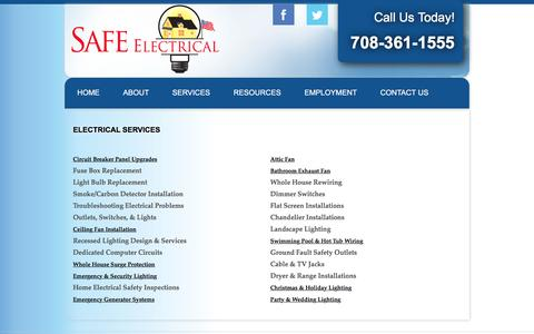Screenshot of Services Page safeelectricalservice.com - Electrical Service | SAFE Electrical Services - captured July 20, 2016