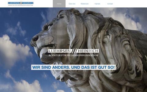 Screenshot of Home Page luehrsen-heinrich.de - Luehrsen // Heinrich - Agentur für Medienkommunikation - captured July 15, 2015