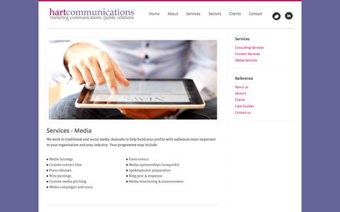Screenshot of Press Page hart-communications.com - Hart Communications - Marketing, Communications, Public Relations - with more than 20 years experience in our field. Homepage - Welcome - captured Sept. 29, 2014