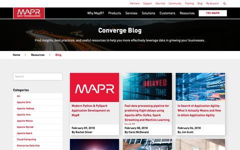 Screenshot of Blog mapr.com - Converge Blog | MapR - captured Feb. 24, 2018