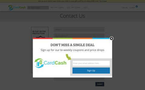 Screenshot of Contact Page cardcash.com - Contact Us | CardCash - captured Feb. 18, 2016