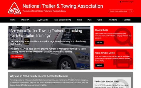 Screenshot of Home Page ntta.co.uk - National Trailer & Towing Association Ltd - captured July 4, 2017