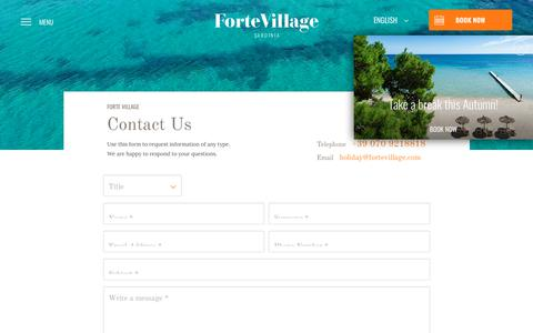 Screenshot of Contact Page fortevillageresort.com - Contacts - Forte Village Resort Sardinia - captured Aug. 20, 2018