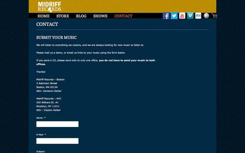Screenshot of Contact Page midriffrecords.com - Contact | Midriff Records - captured Oct. 27, 2014