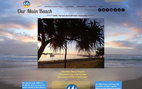 Screenshot of Home Page ourmainbeach.com.au - what's on | main beach | gold coast - captured July 3, 2018