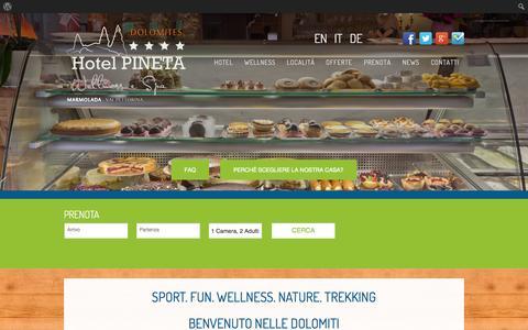 Screenshot of Home Page hotelpineta.net - Hotel Pineta Wellness in Rocca Pietore, soggiorno in Marmolada - captured Oct. 1, 2014