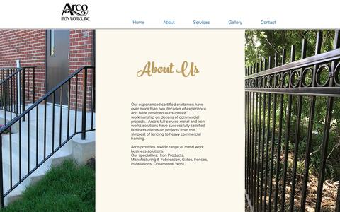 Screenshot of About Page arcoironworks.com - About Arco Iron Works - captured Oct. 4, 2018