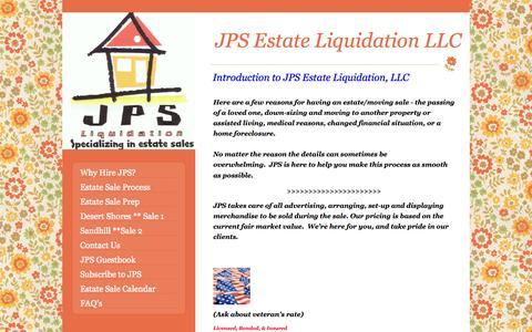 Screenshot of Home Page jpsestateliquidation.com - Why Hire JPS? - captured Oct. 1, 2014