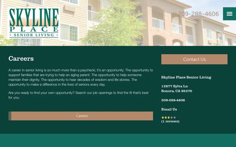 Screenshot of Jobs Page milestoneretirement.com - Skyline Place Senior Living | Our Careers - captured Jan. 25, 2017
