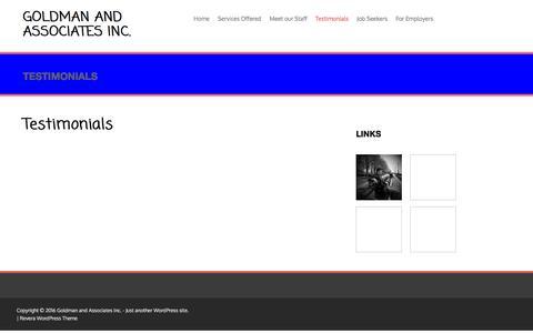Screenshot of Testimonials Page goldmaninc.com - Testimonials | Goldman and Associates Inc. - captured Jan. 31, 2016