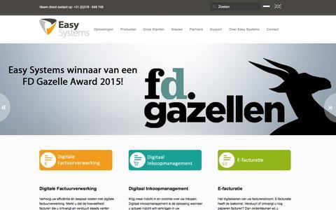 Screenshot of Home Page easysystems.nl - Easy Systems; workflow oplossingen van budget tot betaling - captured Dec. 7, 2015