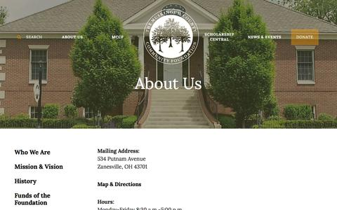 Screenshot of Contact Page mccf.org - Muskingum County Community Foundation : About Us : Contact Us - captured Feb. 15, 2016