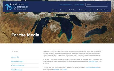 Screenshot of Press Page glc.org - For the Media - Great Lakes Commission - captured Sept. 30, 2018