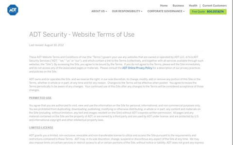 ADT Security Websites Terms & Conditions - ADT Security Services