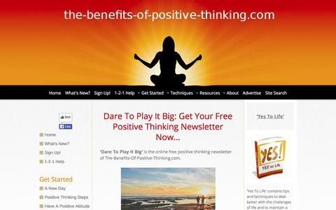 Screenshot of Signup Page the-benefits-of-positive-thinking.com - Free Positive Thinking Newsletter - captured June 2, 2016