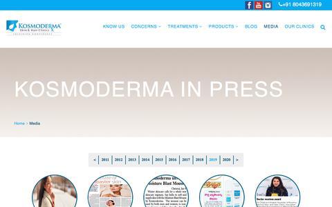Screenshot of Press Page kosmoderma.com - Media - Kosmoderma Skin & Hair Clinics - captured Feb. 7, 2020