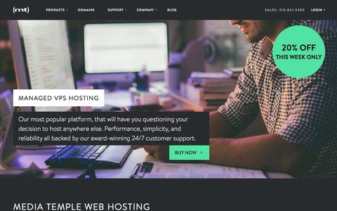 Screenshot of Home Page mediatemple.net - Web Hosting | Reliable Hosting Services | Media Temple - captured Dec. 18, 2015