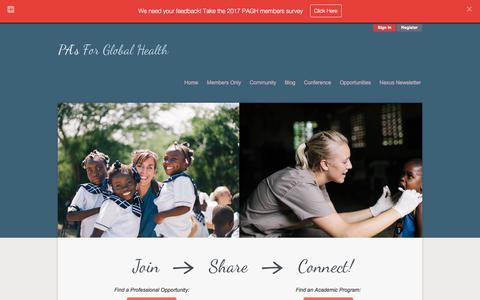 Screenshot of Home Page pasforglobalhealth.com - PAGH | Physician Assistants for Global Health - International - captured Aug. 1, 2017
